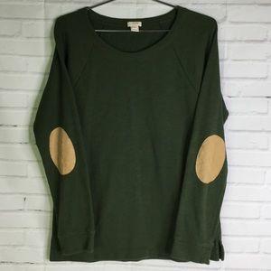 J. Crew Factory Sz M Elbow Patch Green Sweatshirt